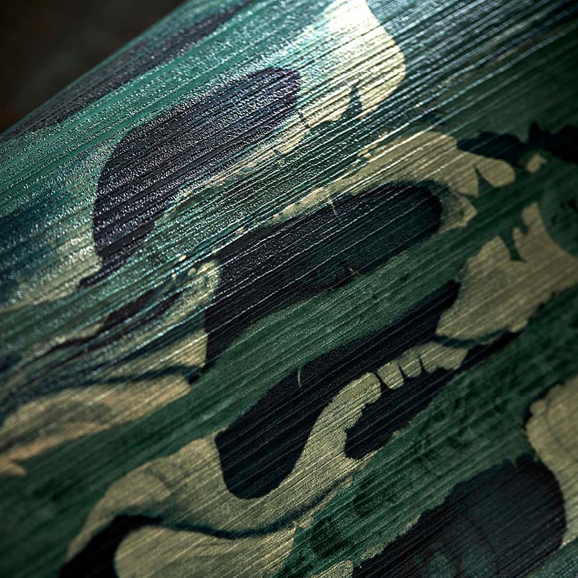 Emerald/Kingfisher Ripple Stripe Wallpaper part of the Anthology 07 Collection