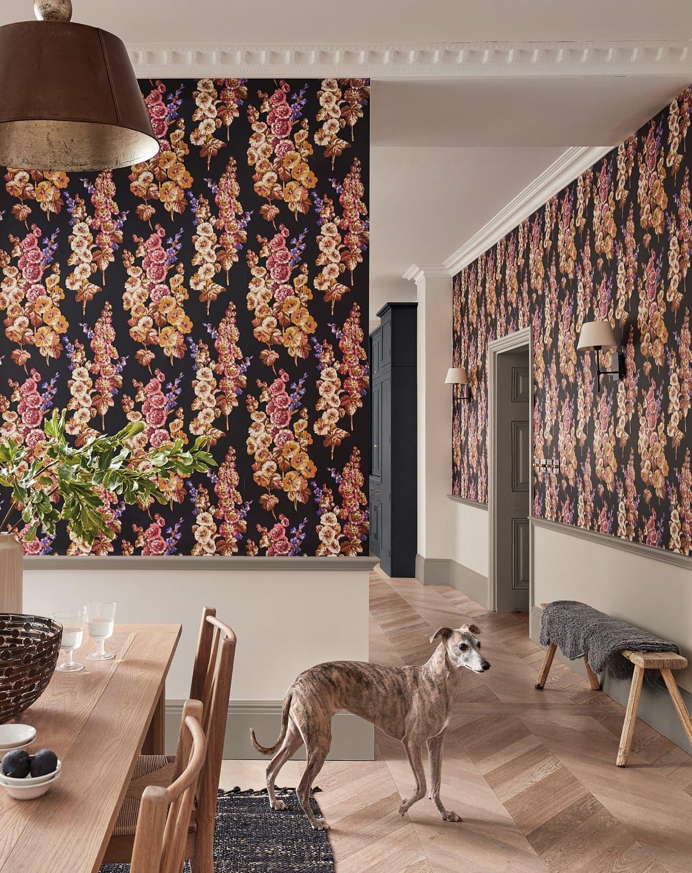 Hollyhocks Wallpaper in dining area
