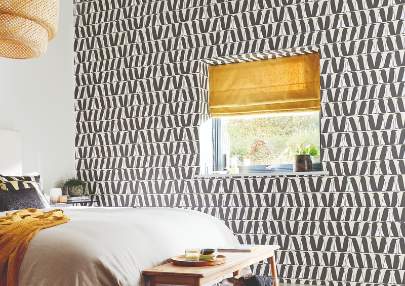Scion Esala 2020 Black and White Wallpaper in Bedroom