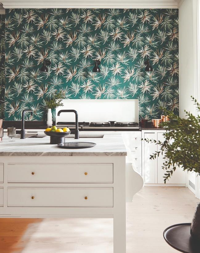 Blue wallpaper in kitchen