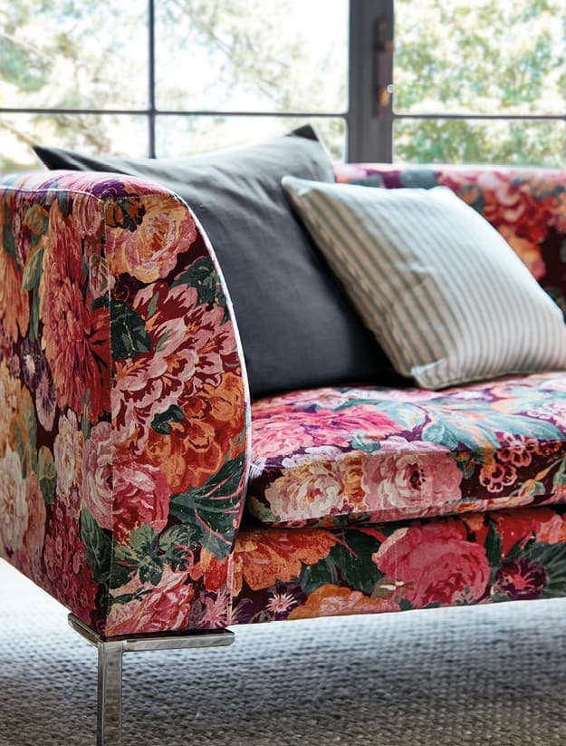 Sanderson one Sixty Rose and Peony Fabric on sofa
