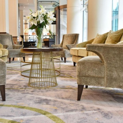 Golden chairs in reception area