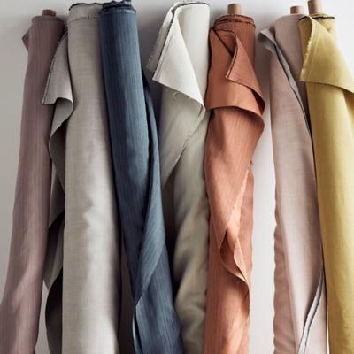 Rolls of multicoloured fabrics