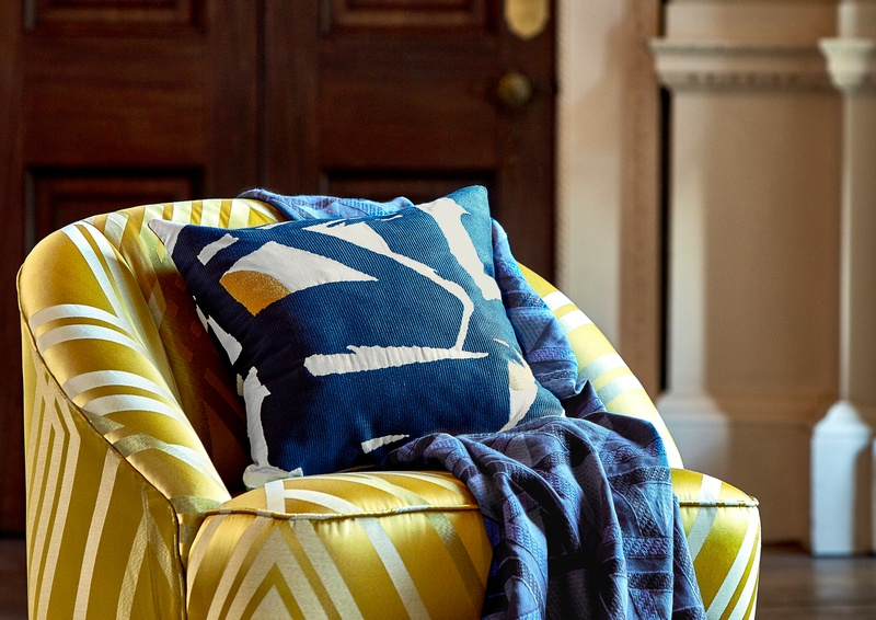Zoffany Icons 2018 Blue and Yellow Fabric on Chair