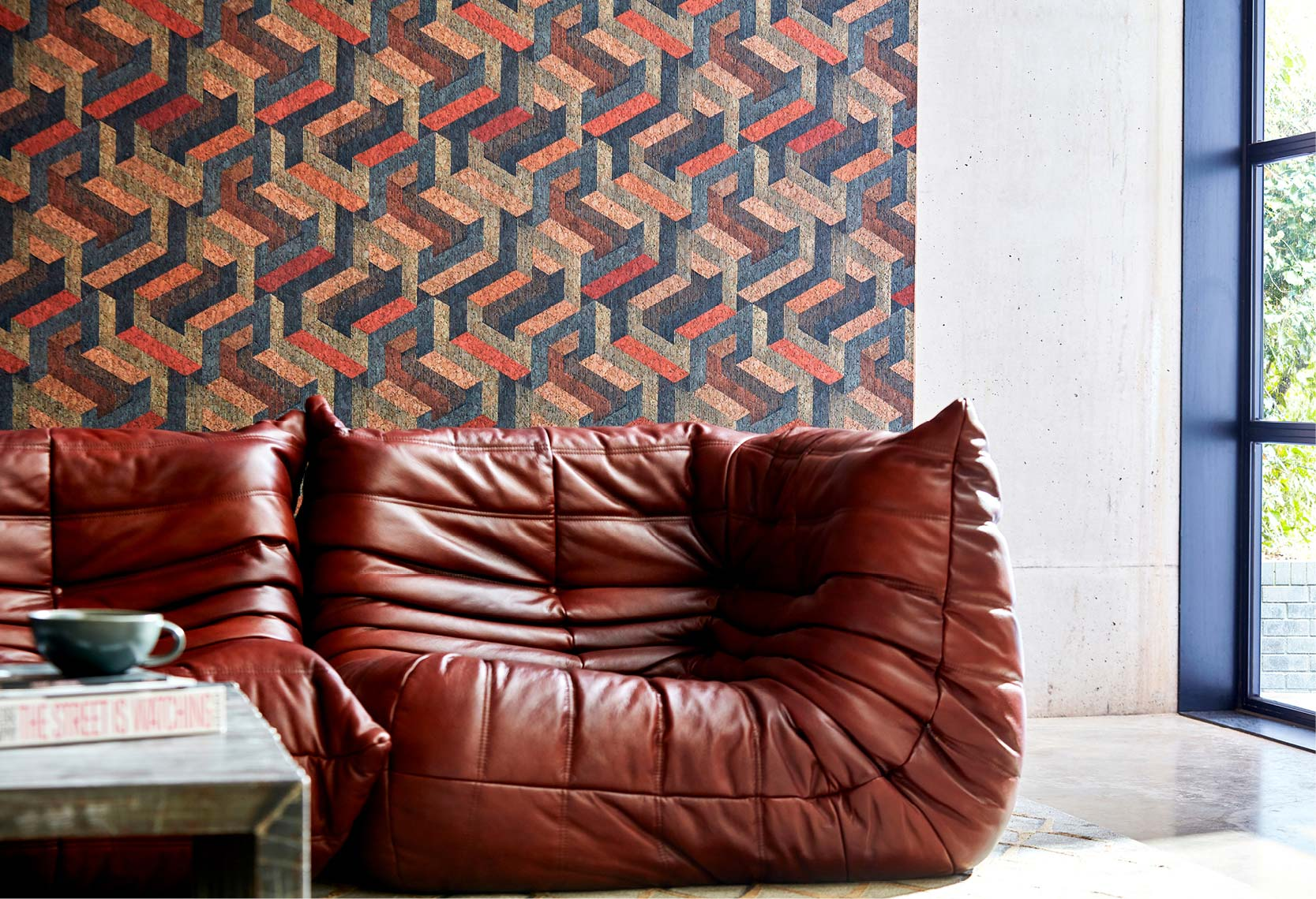 Copper/Slate Escheresque Wallpaper part of the Anthology 07 Collection