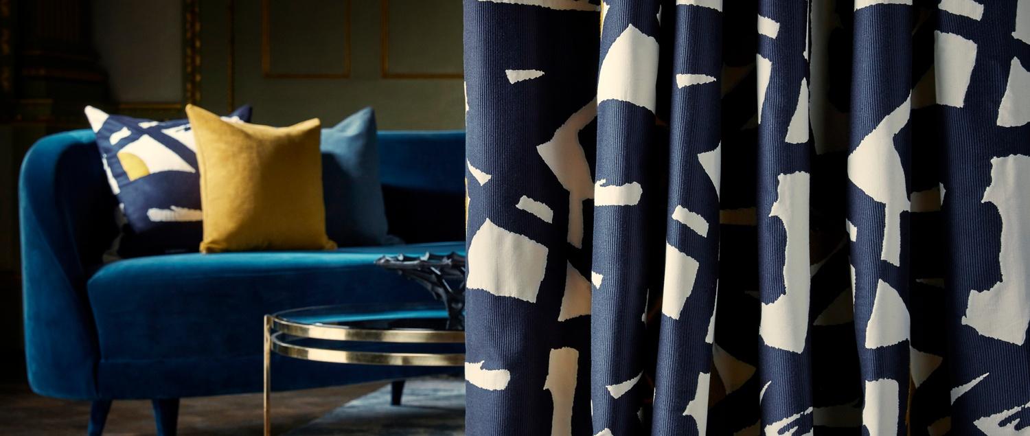 Zoffany Icons Blue and Yellow Fabric on Curtain and Cushion