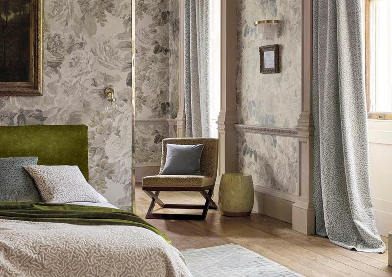 Zoffany grey fabrics in bedroom
