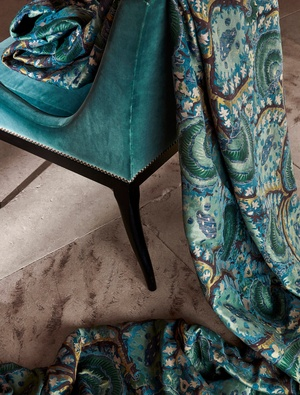 Turquoise blue fabric on chair