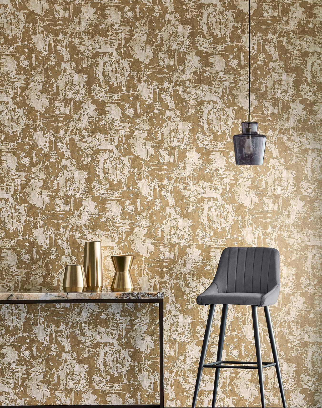 Sandstone/Gold Anthropic Wallpaper part of the Anthology 06 Collection
