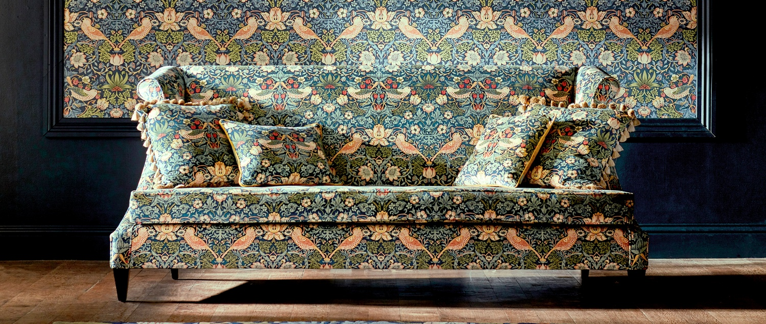 Morris 2019 Rouen Velvet fabric on sofa