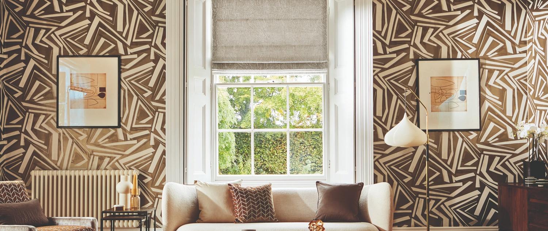 Momentum 14 Harlequin brown and white geometric wallpaper