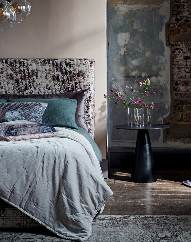 Bed covers in Camile & Ombre Fabric part of the Fusion collection