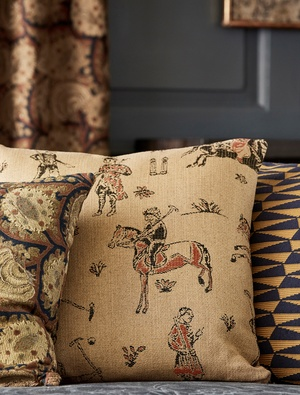 Close up image of brown patterned cushions