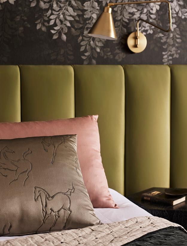 Kensington Walk Horse Print Fabric on Cushion