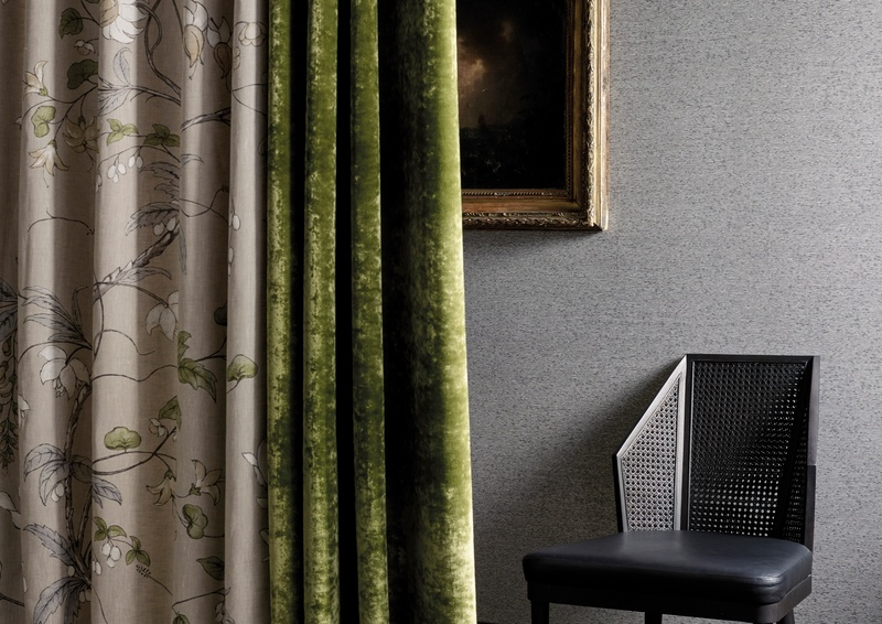 Zoffany Darnley 2018 green and beige fabric curtains