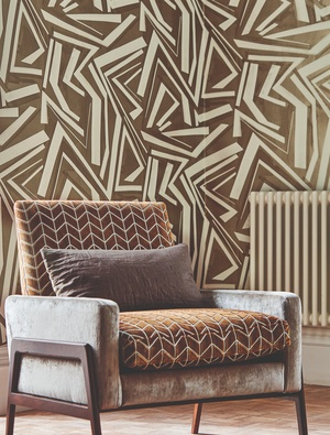 Harlequin brown and white wallpaper in lounge