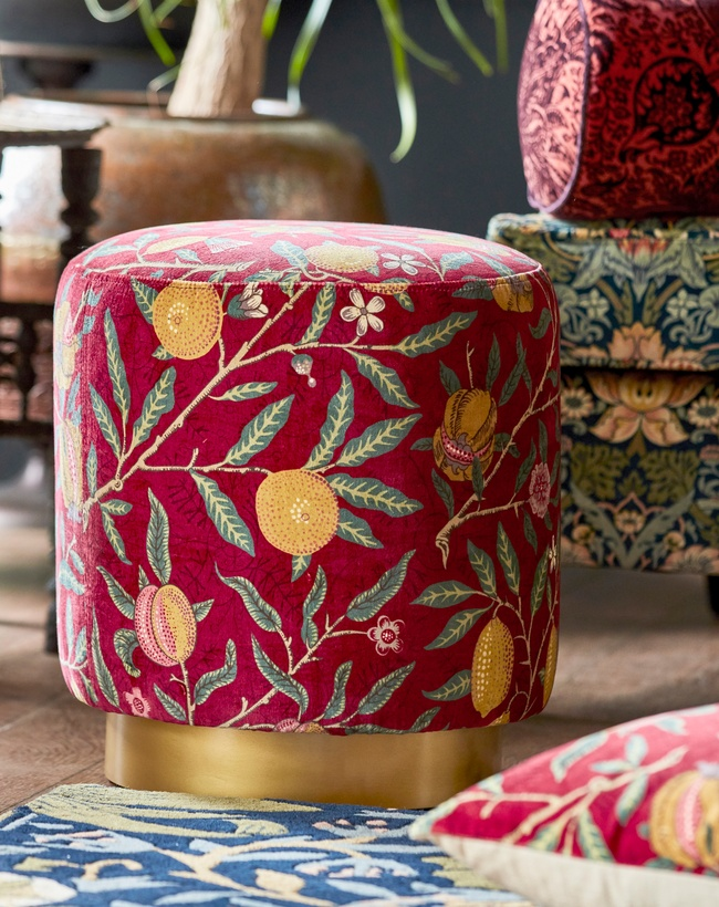 Red and yellow patterned floral footstool