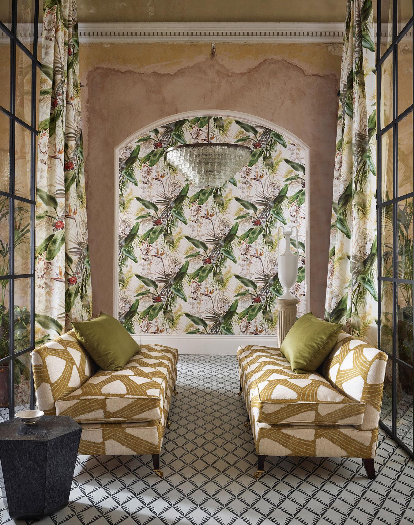 Kanoko fabric and Paradise Row wallpaper