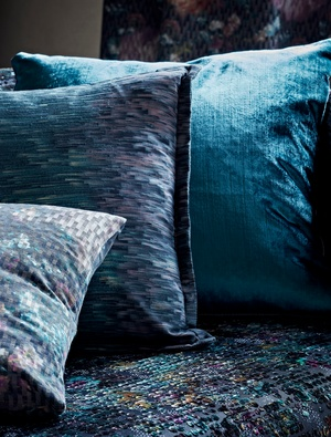 Blue and purple close up cushions