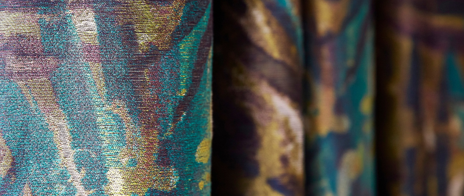 Atelier blue and gold fabric