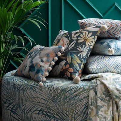Blue and green tropical cushions