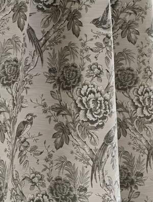 Grey floral and bird fabric