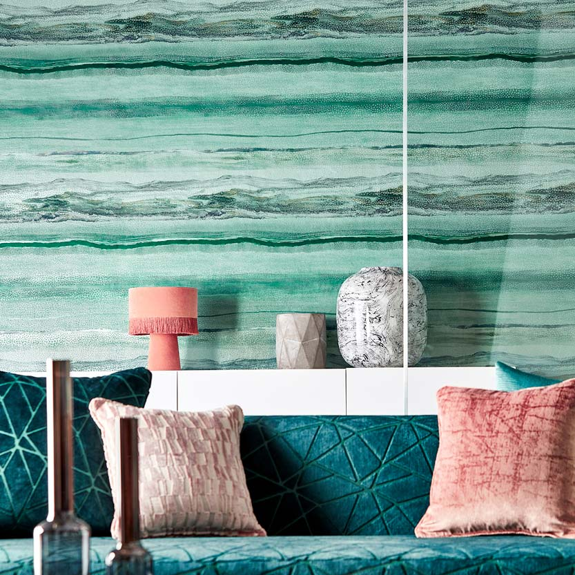 Amazonite/Apatite Metamorphic Wallpaper part of the Anthology 06 Collection