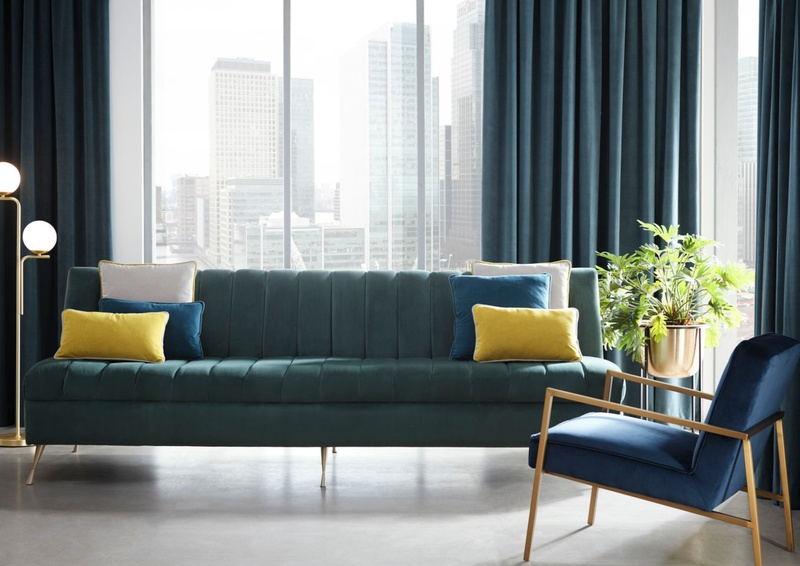 Clarke and Clarke Miami collection fabrics on sofa