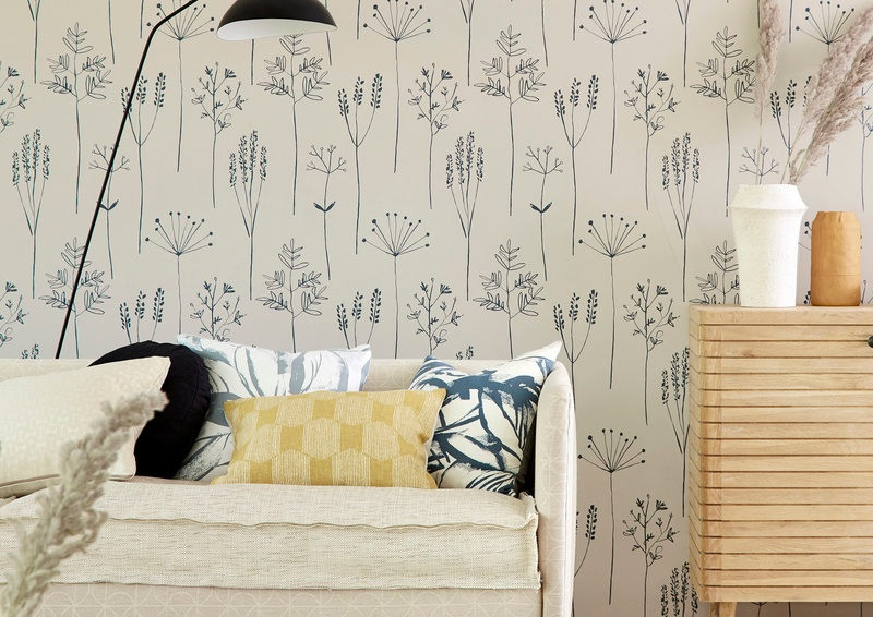 Scion Zanzibar 2019 36 Stipa Wallpaper in Living Room