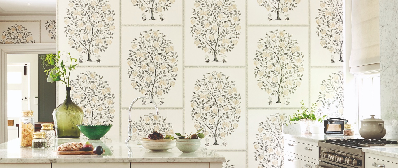 Sanderson 2019 Caspian 06 Anaartree White Tree Wallpaper in Kitchen
