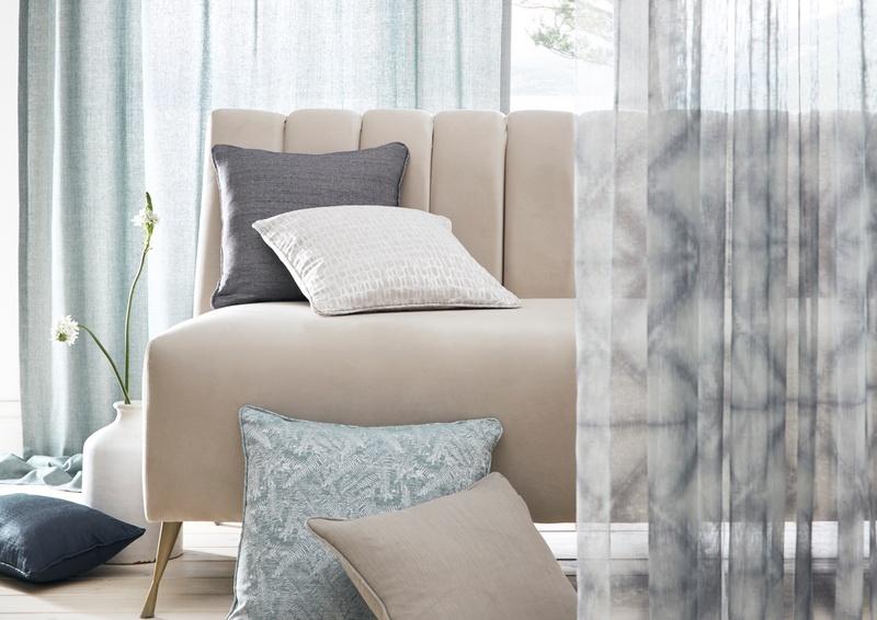 Natura collection fabric cushions on sofa