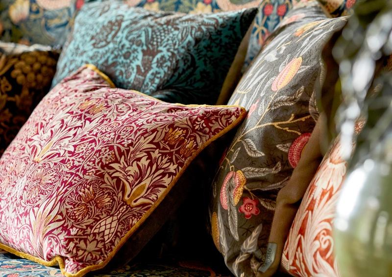 Morris fabric cushions