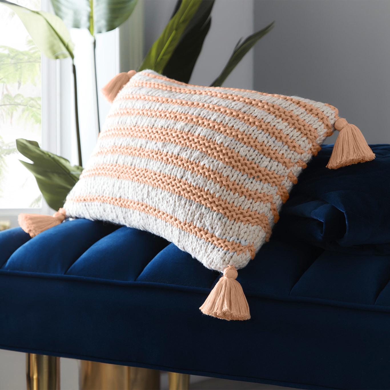 Knitted Stripe Cushion by TDA